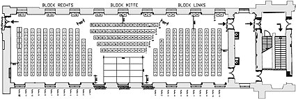 Picture: Hubertus Hall, seating in rows